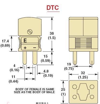 DTC-(*)-M系列标准热电偶插头|DTC-(*)-F系列标准热电偶插座-尺寸图
