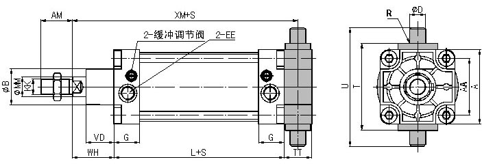 QGS系列普通型双作用气缸