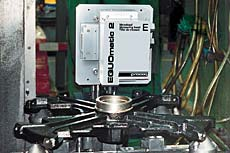 EQUOmatic2 - automatic metal hardness tester testing an automitive casting