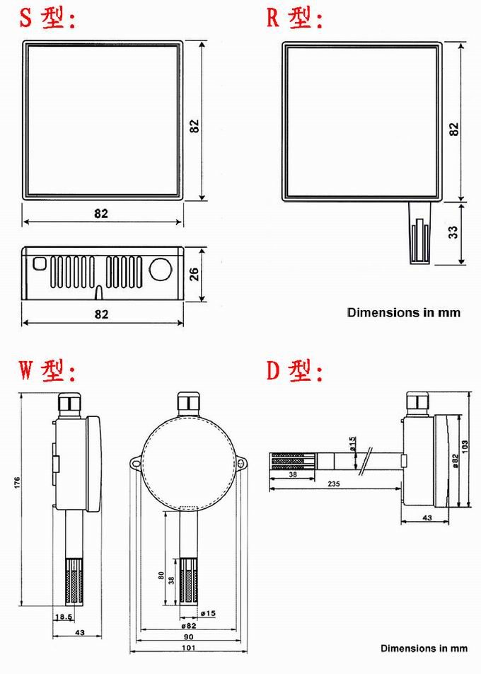 墙挂式和管道式温湿度变送器