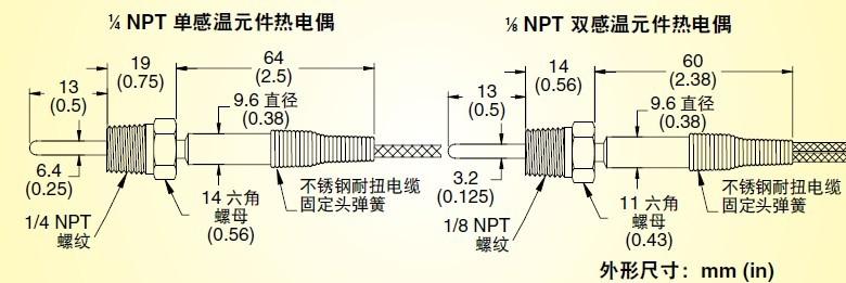 TC-NPT系列螺钉热电偶|美国omega管塞式热电偶温度探头-尺寸