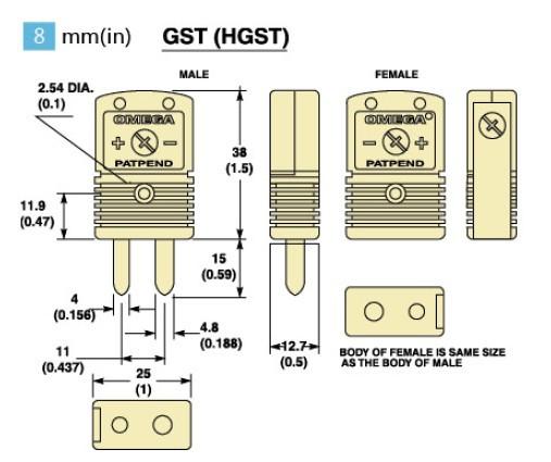 GST-(*)-M系列标准热电偶插头|GST-(*)-F系列标准热电偶插座-尺寸