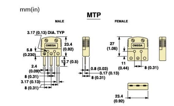 MTP-(*)-M系列热电偶插头|MTP-(*)-F系列热电偶插座-尺寸图