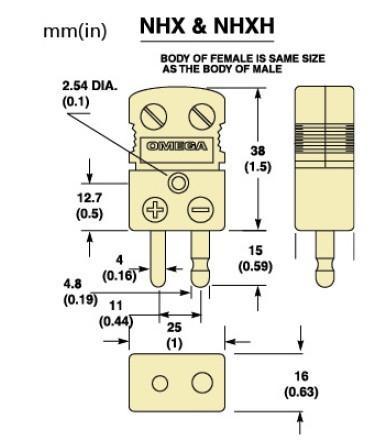 NHXH-(*)-M系列陶瓷热电偶插头|NHXH-(*)-F系列陶瓷热电偶插座-尺寸图