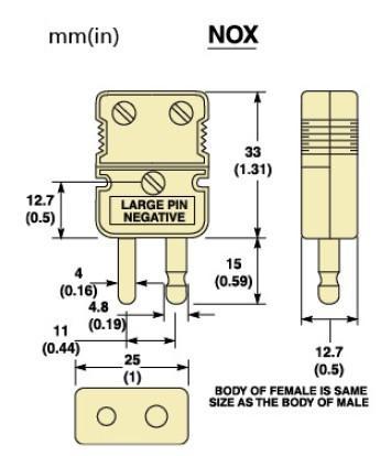 NOX,UOX系列无釉质超高温标准尺寸热电偶插头|热电偶插座-尺寸图