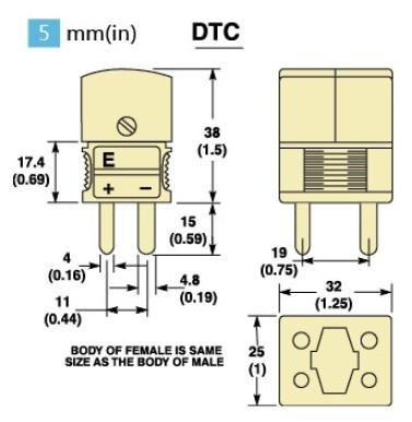 DTC双只热电偶插头 双只热电偶插座尺寸图