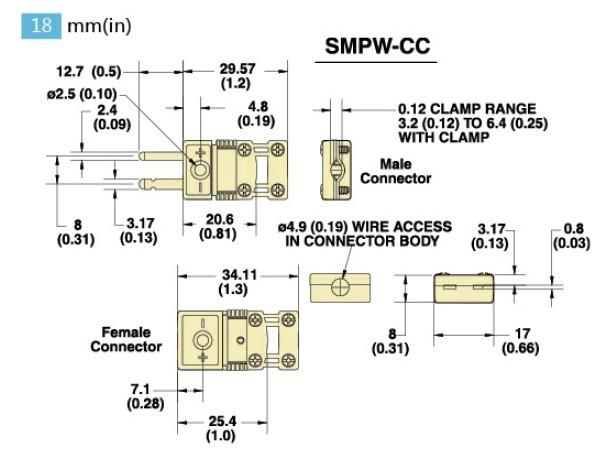 SMPW-(*)-CC-M系列微小迷你型热电偶插头 SMPW-(*)-CC-F系列微小迷你型热电偶插座