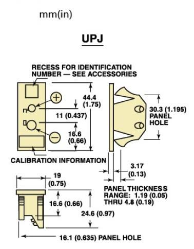 UPJ-(*)-F面板式热电偶插座 美国omega面板镶嵌式热电偶插座-尺寸图
