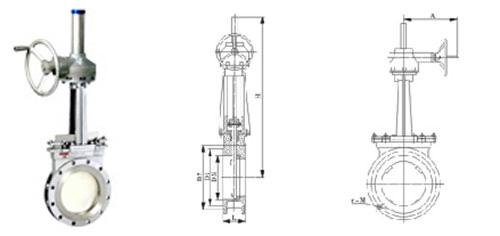 伞齿轮对夹式刀型浆液闸阀