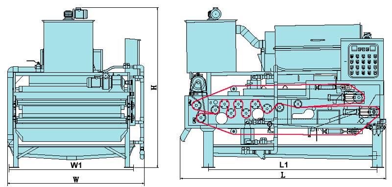 高效率二段式双滤布脱水机