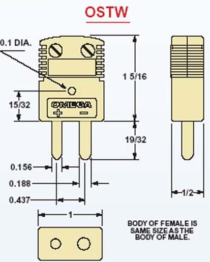 OSTW-K-M,OSTW-K-F,OSTW-K-MF美国Omega圆柱体温度插头插座 尺寸