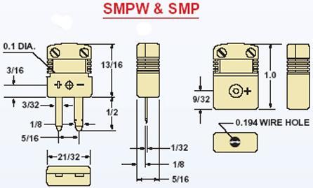 SMPW-T-M/F热电偶线公母插 热电偶线插头插座 美国omega热电偶线连接器 尺寸