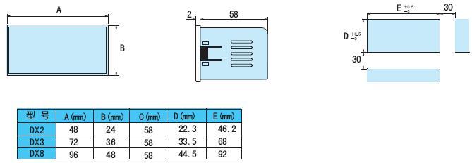 DX-DA数字直流电流表头|东崎TOKY仪表|3位半数显直流电流表 尺寸