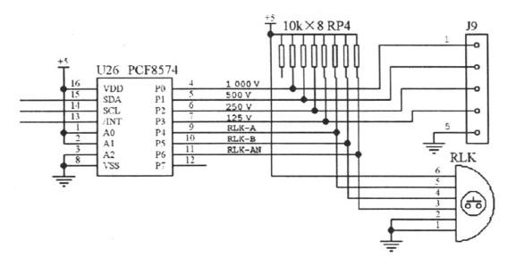图3  节省I/ O 口线的按键输入接口电路