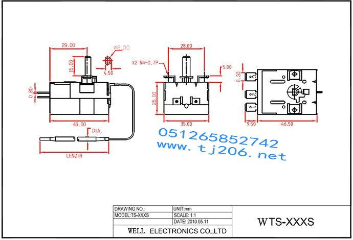 well机械式温控开关ts200sb,ts200sr ts200sb,ts200sr