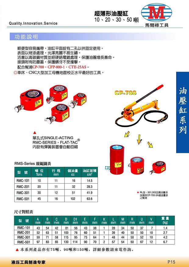 超薄型油压缸(台湾-马尔禄)