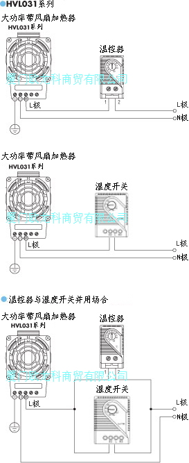 stego电热器与温控开关以及湿度开关接线图