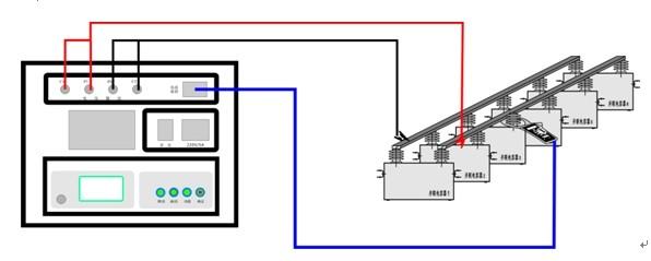 单相并联电容器测量时候,仪器面板接线如上图,接好 四根线即可,插入电