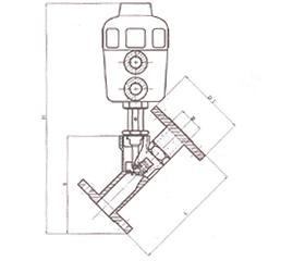 Y型法兰气动角座阀