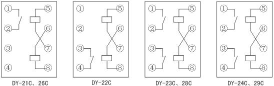 dy-20c,20d系列电压继电器内部接线图