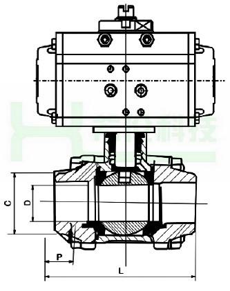 气动三片式焊接球阀