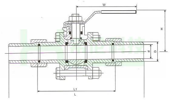 不锈钢三片式活接对焊球阀