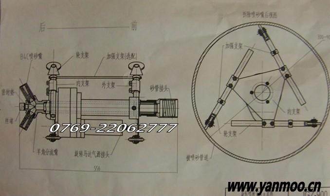 管道内喷砂器,管内壁喷砂枪技术参数说明书