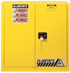 Justrite Sure Grip EX Safety Cabinet, 30 gallon - 2 manual doors