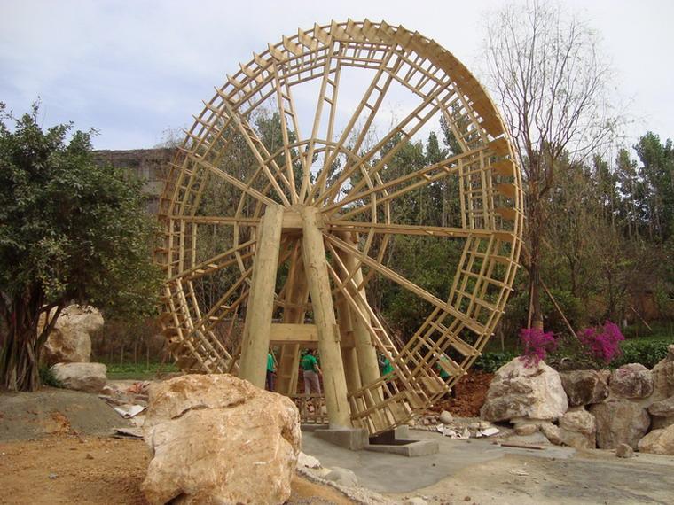 木制水车 水车