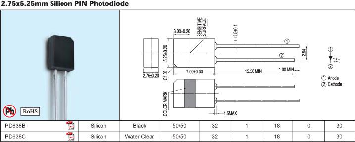 光敏二极管 pd638b