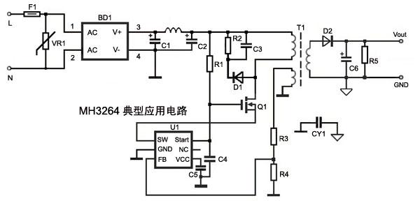 原边反馈 反激式LED恒流电路
