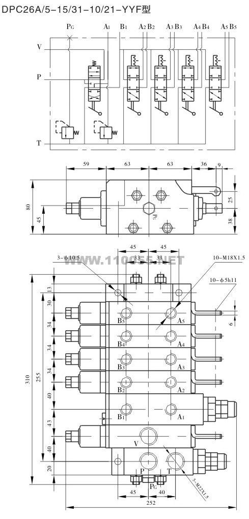 DPC26A/5-151-10/21-YYF    DPC26A/5-10/21-YF   下车多路阀
