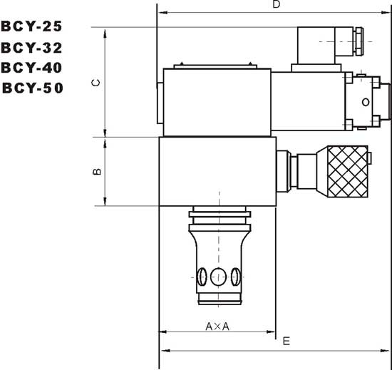 BCY-25     BCY-32    BCY-40    BCY-50    比例插装式溢流阀