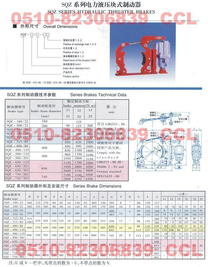 SQZ-250/50 SQZ-315/50 SQZ-315/80 电力液压块式制动器