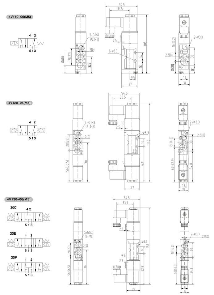 4v1系列二位五通/三位五通电磁阀图片