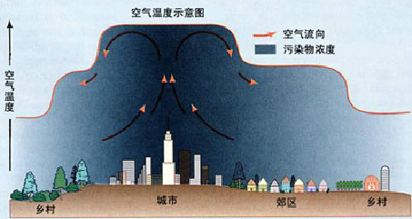 由于城市热岛效应,城市与郊区形成了一个昼夜相反的热力环流.