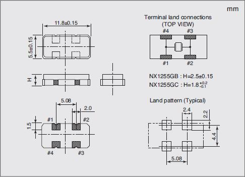 NX1255GC Dimensions