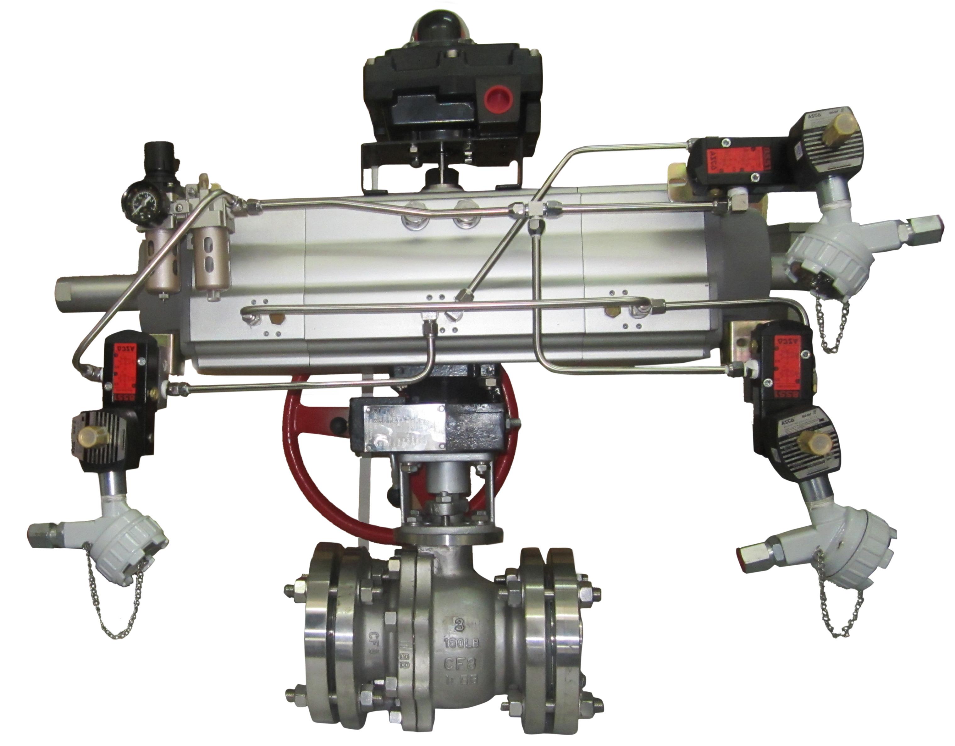 气动活塞三段式切断球阀主要由图片