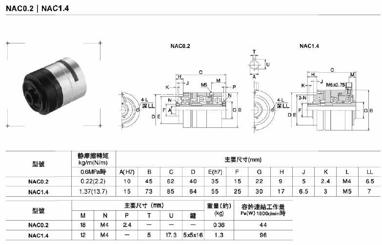 空壓通軸離合器