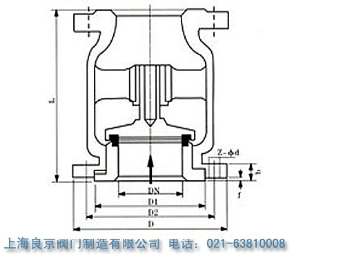 h42n-25立式止回阀 的结构原理图