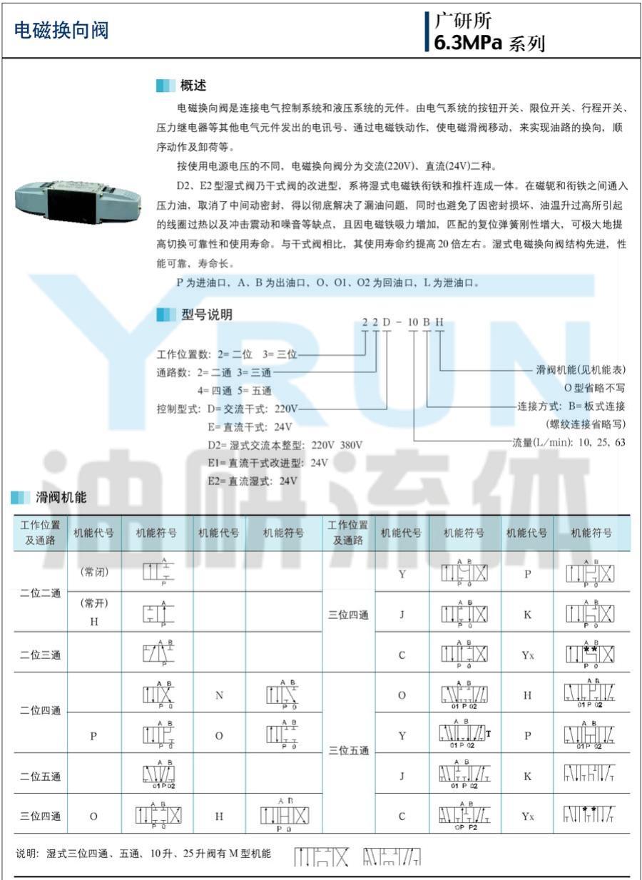 YRUN油研  34E2-63BC 34E2-10BYx 34E2-25BYx 34E2-63BYx    YRUN电磁换向阀