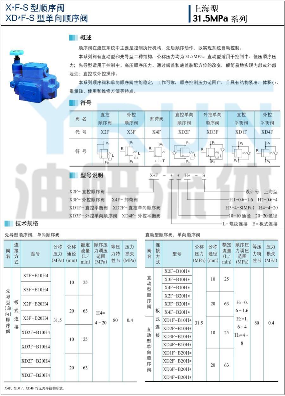 YRUN油研 X4F-B10H2-S X4F-B10H1-S 顺序阀