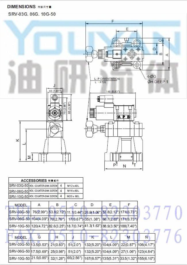 电磁式溢流阀 srv-03g-50,srv-06g-50,srv-10g-50