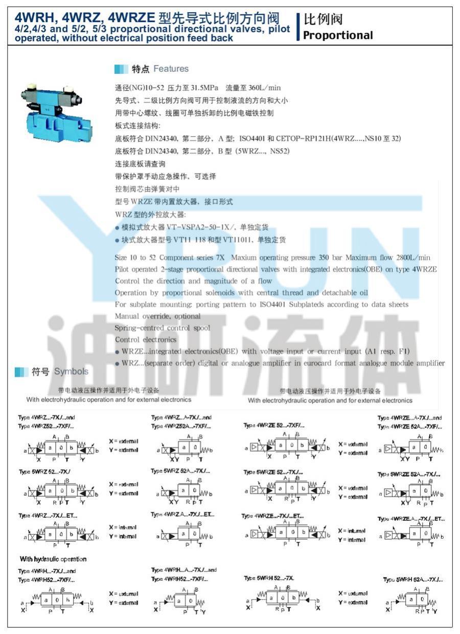 先导式比例方向阀 4WRH16W8 4WRH16W9 4WRH16W6