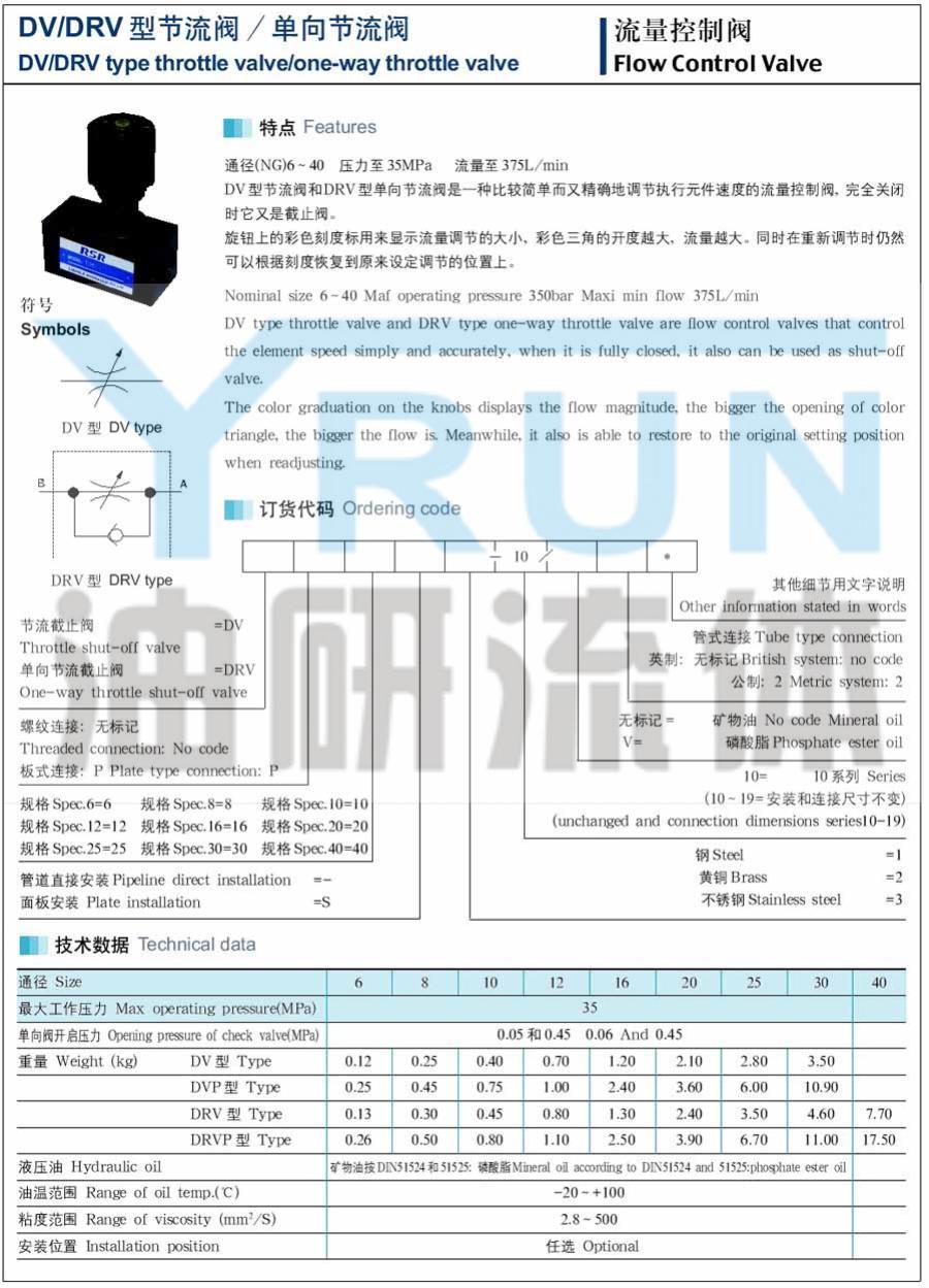 节流阀 DRVP16-3-10 DRVP20-1-10 DRVP20-2-10 DRVP16-1-10 DRVP16-2-10