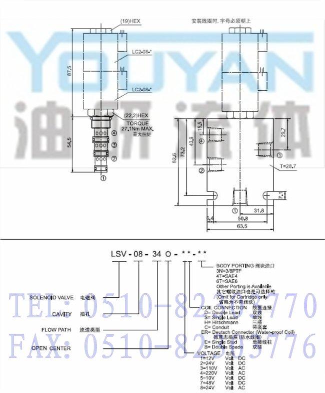 lsv-08-34o-6h,lsv-08-34o-6o,lsv-08-34o-6s,三位四通电磁阀图片