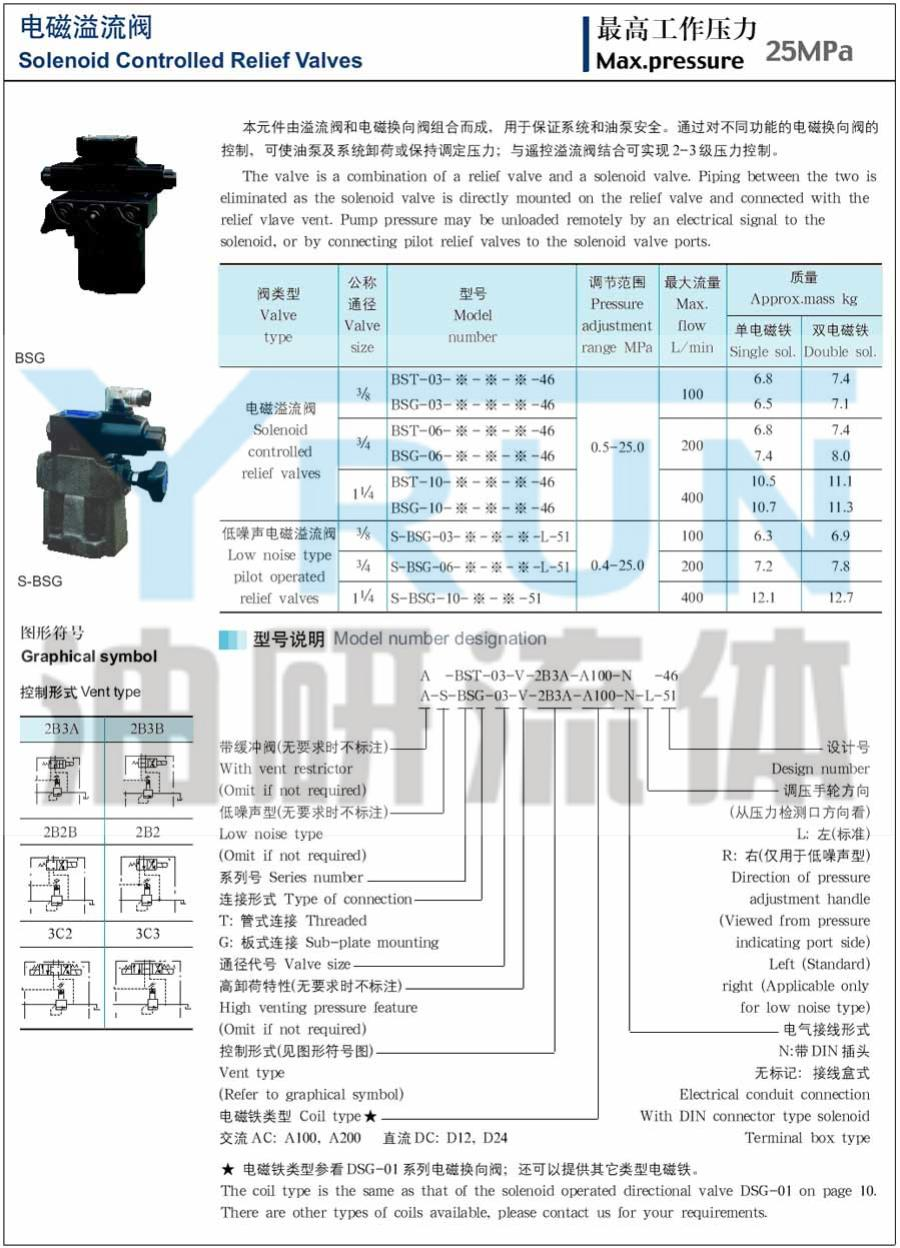 电磁溢流阀  BST-03-V-3C2-D12  BST-03-V-3C2-D24  油研电磁溢流阀   YRUN油研 YUKEN油研