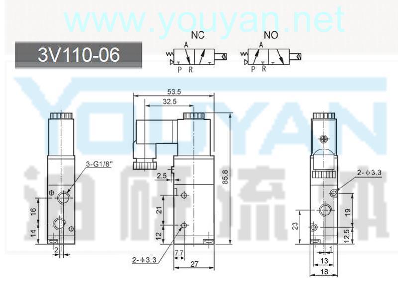 二位三通电磁阀 3V110-06  油研电磁阀