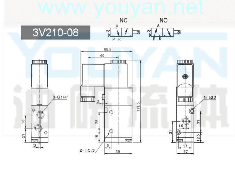 二位三通电磁阀 3V210-08  油研电磁阀