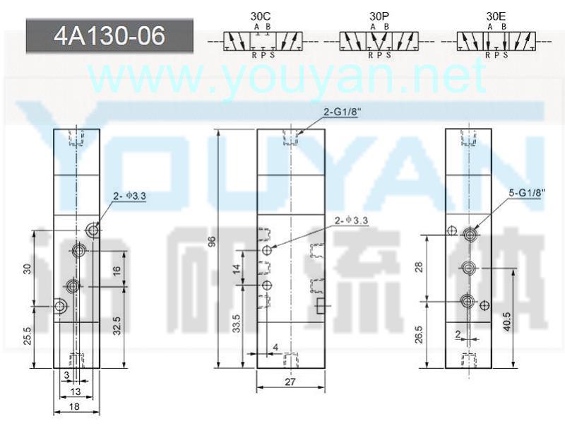 三位五通气控阀 4A130-06  4A130C-06 4A130E-06 4A130P-06  油研气控阀
